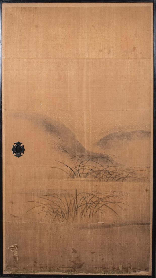 Two Japanese Painted Door Panels - 3