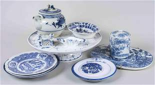 Group of Blue and White Porcelain Table Articles
