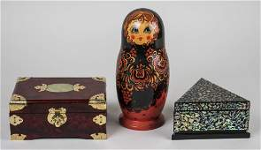 Two Decorative Boxes  a Russian Nesting Doll