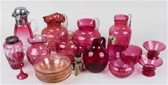 Group of Cranberry Glass Table Articles