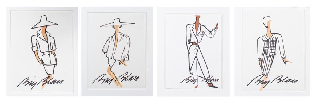 Four Bill Blass Fashion Drawings