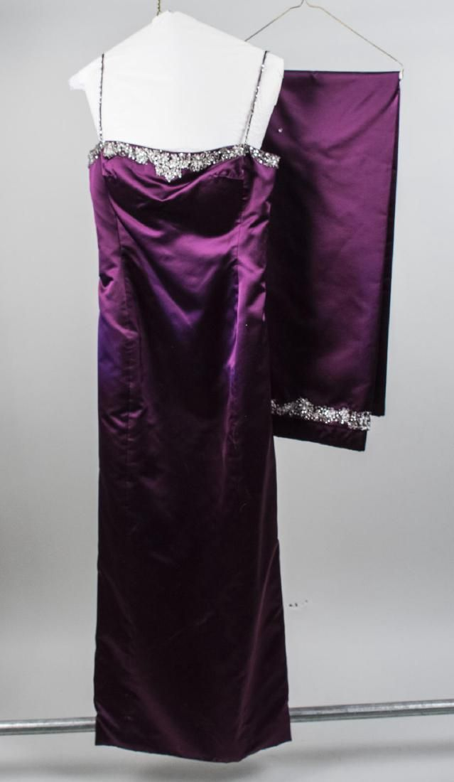Vera Wang Purple Satin Dress and Wrap