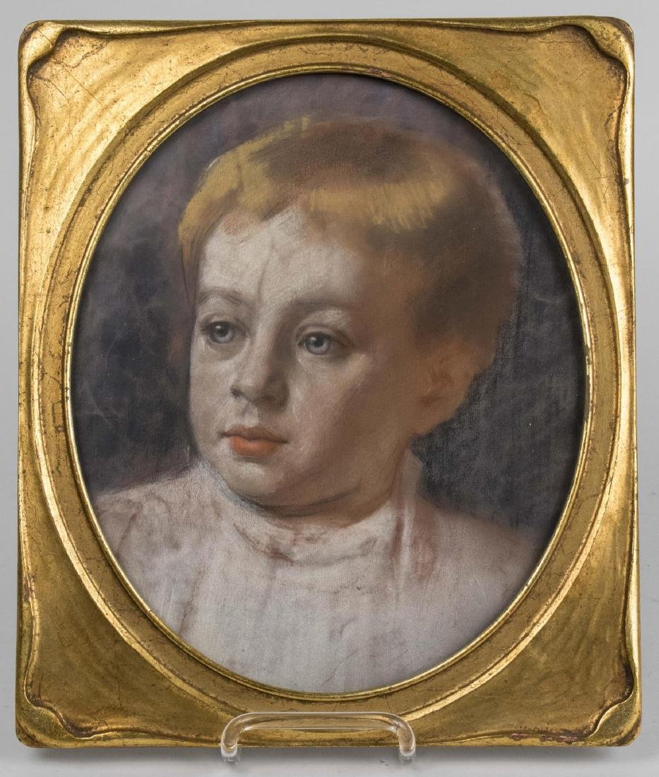 Pastel Portrait of a Blond Child with Blue Eyes