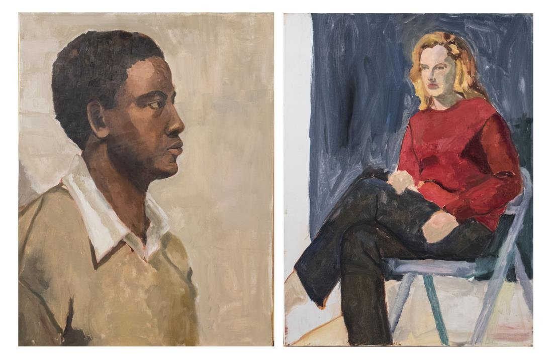 Pair of Portrait Paintings (American, 20th C)