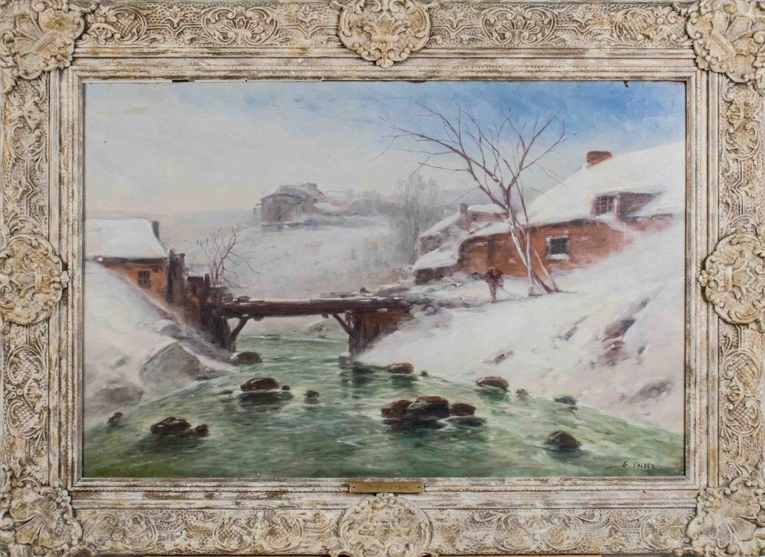 Winter Landscape of Village Bridge and River