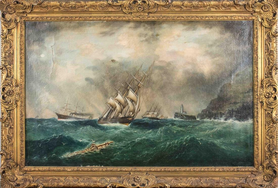 Three 3-Masted Ships Weathering Rough Waves