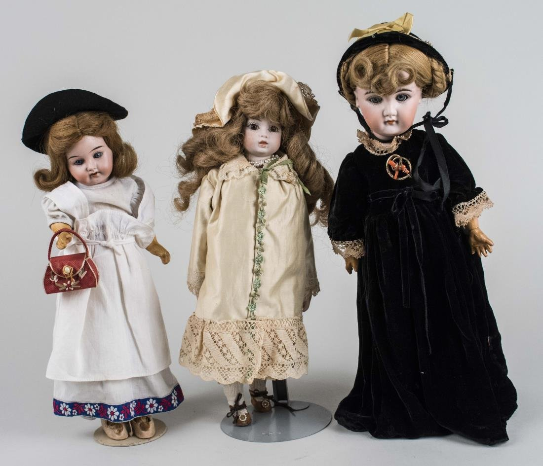 Three Porcelain Head Dolls