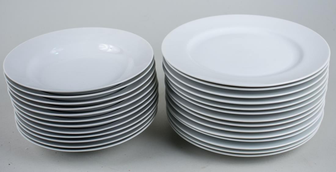 Set of White Porcelain Plates