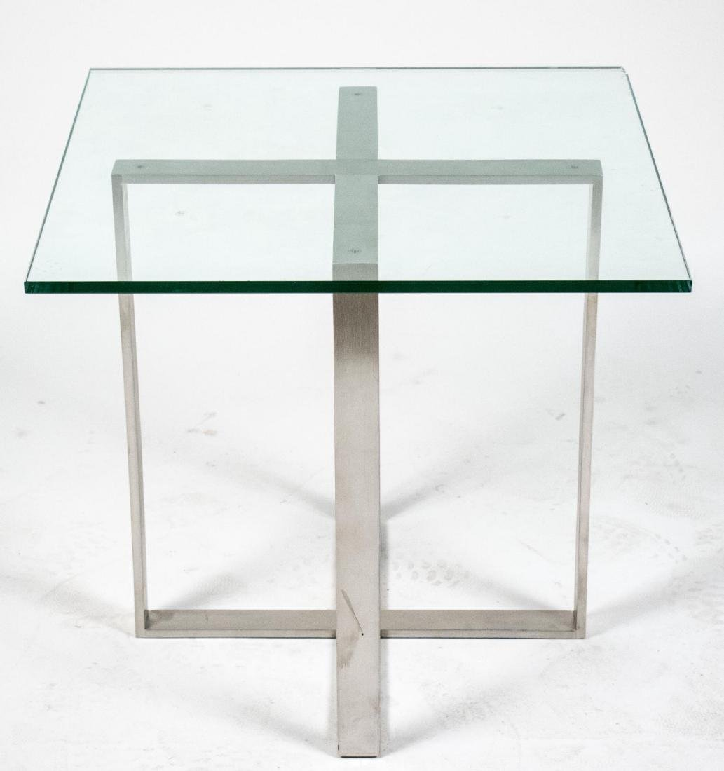 Glass Top Steel Table