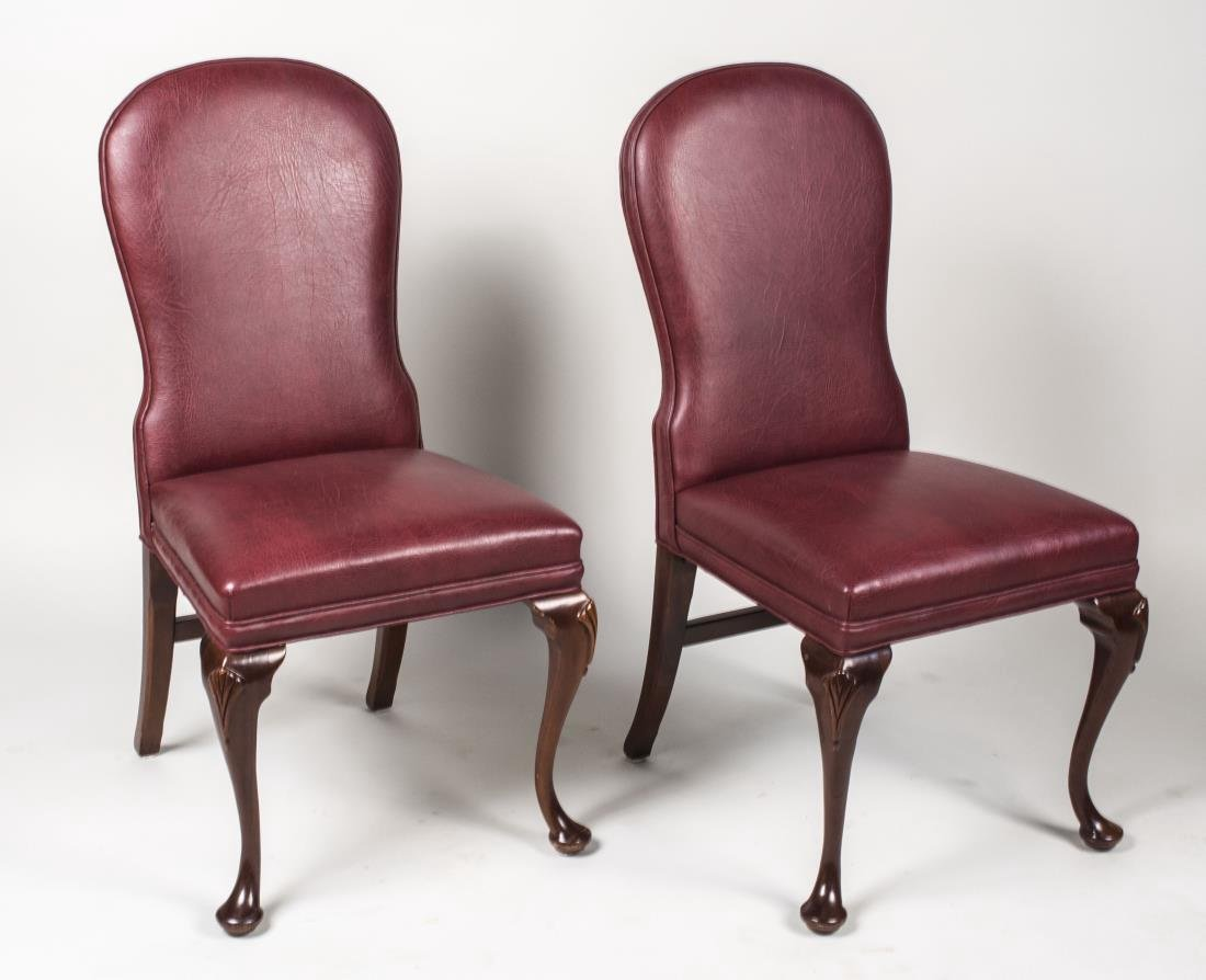 Pair of Hickory Chair Leather Side Chairs