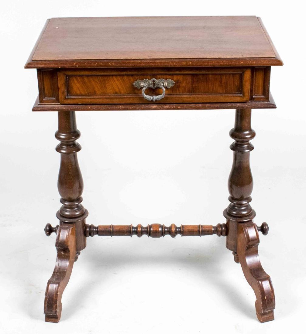 Fruitwood Trestle Base Side Table