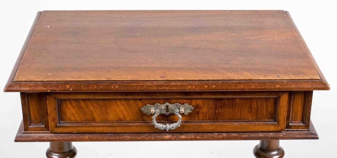 Fruitwood Trestle Base Side Table - 2