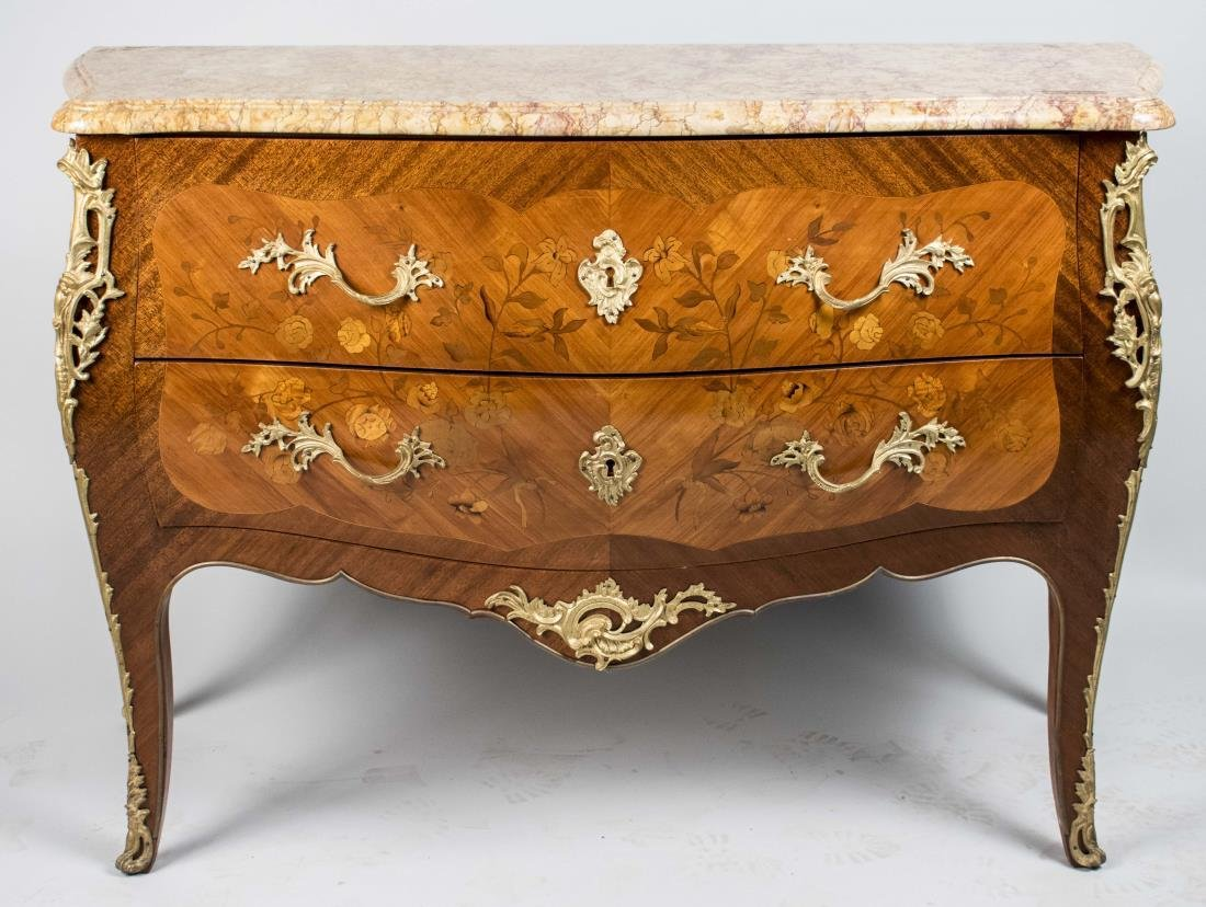 Louis XV Style Gilt Bronze Mounted Commode   *