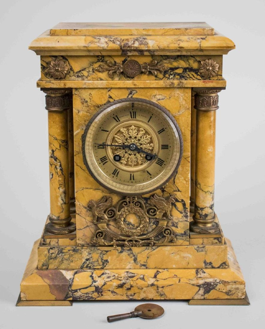 French Neoclassical Style Marble Clock