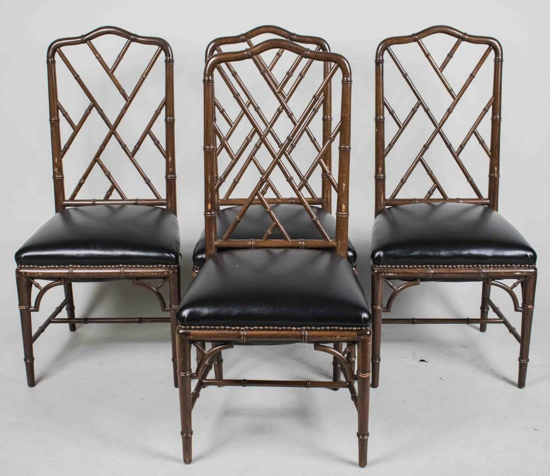 Set of Four Regency Style Faux Bamboo Chairs