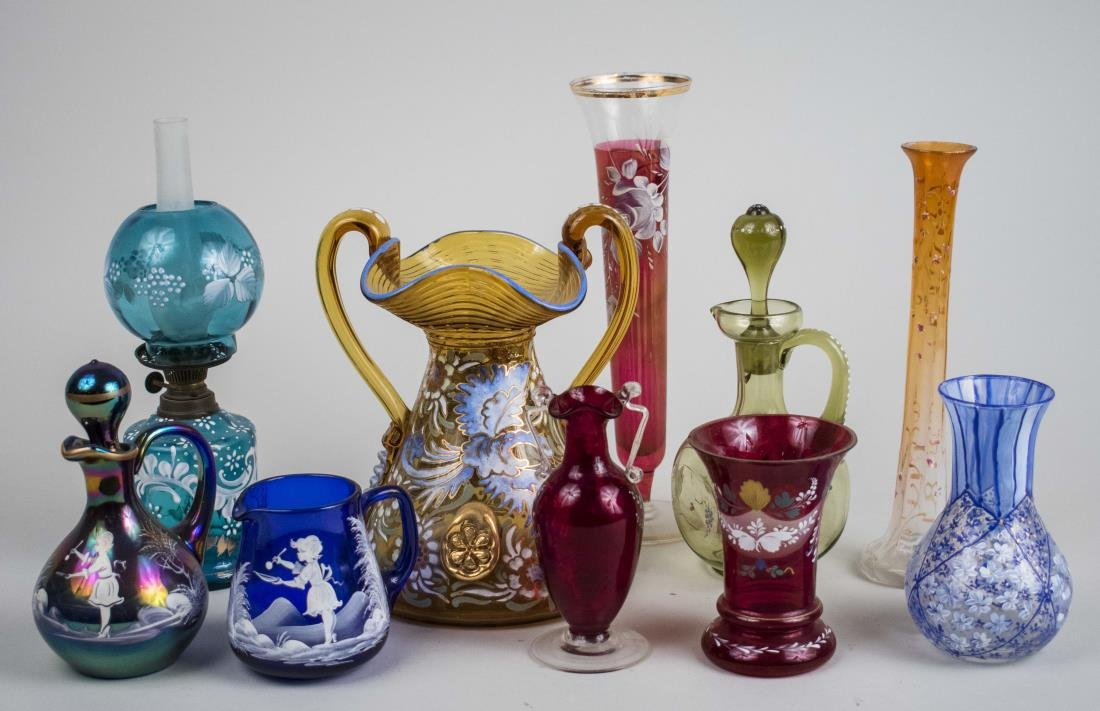 Group of Enamel Decorated Glass Decorations