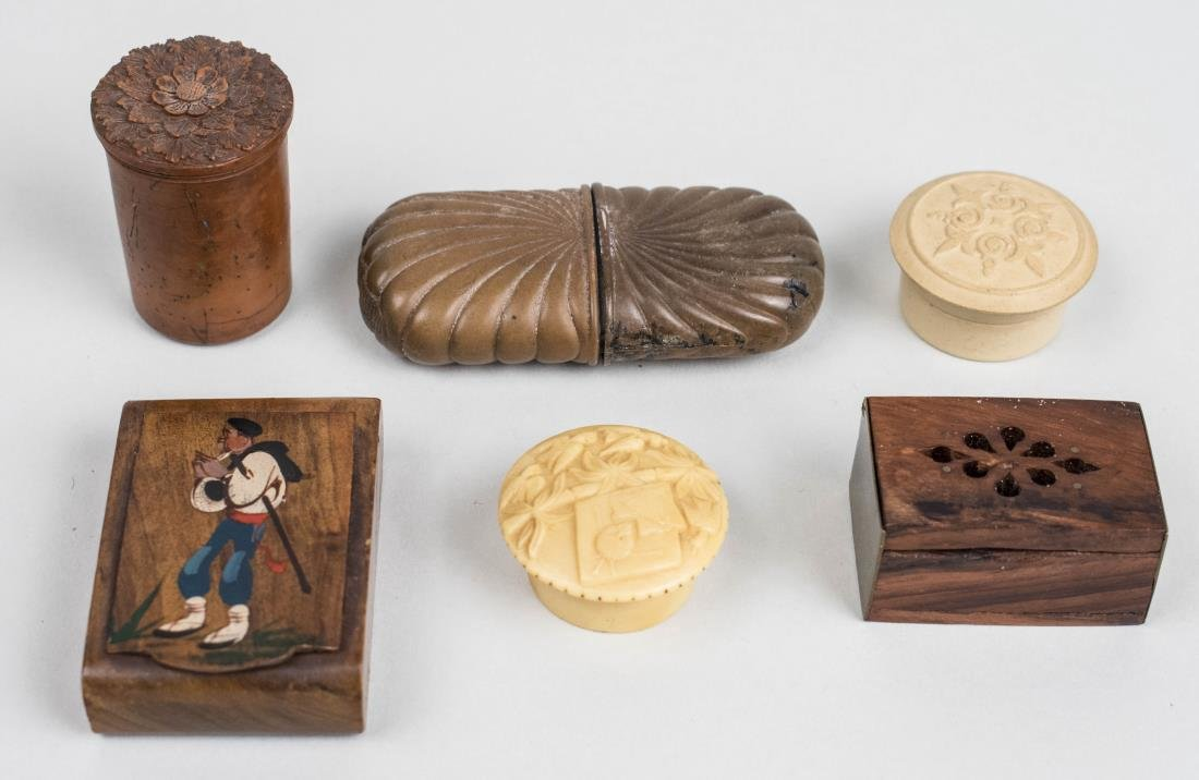 Group of Turned or Carved Wood Boxes