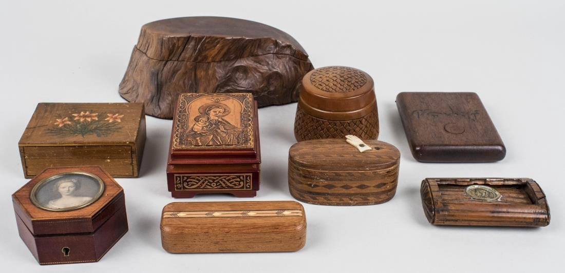 Group of Wood Trinket Boxes