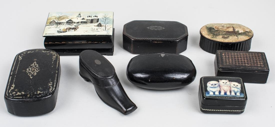 Group of Eight Russian Lacquer Boxes