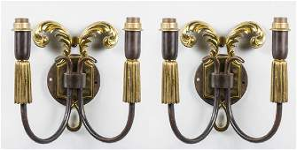 Pair of Bronze and Brass Sconces