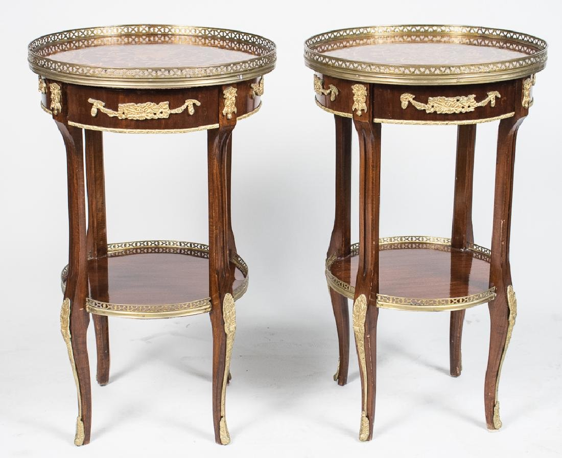 Pair of Continental Marquetry Top Tables   *