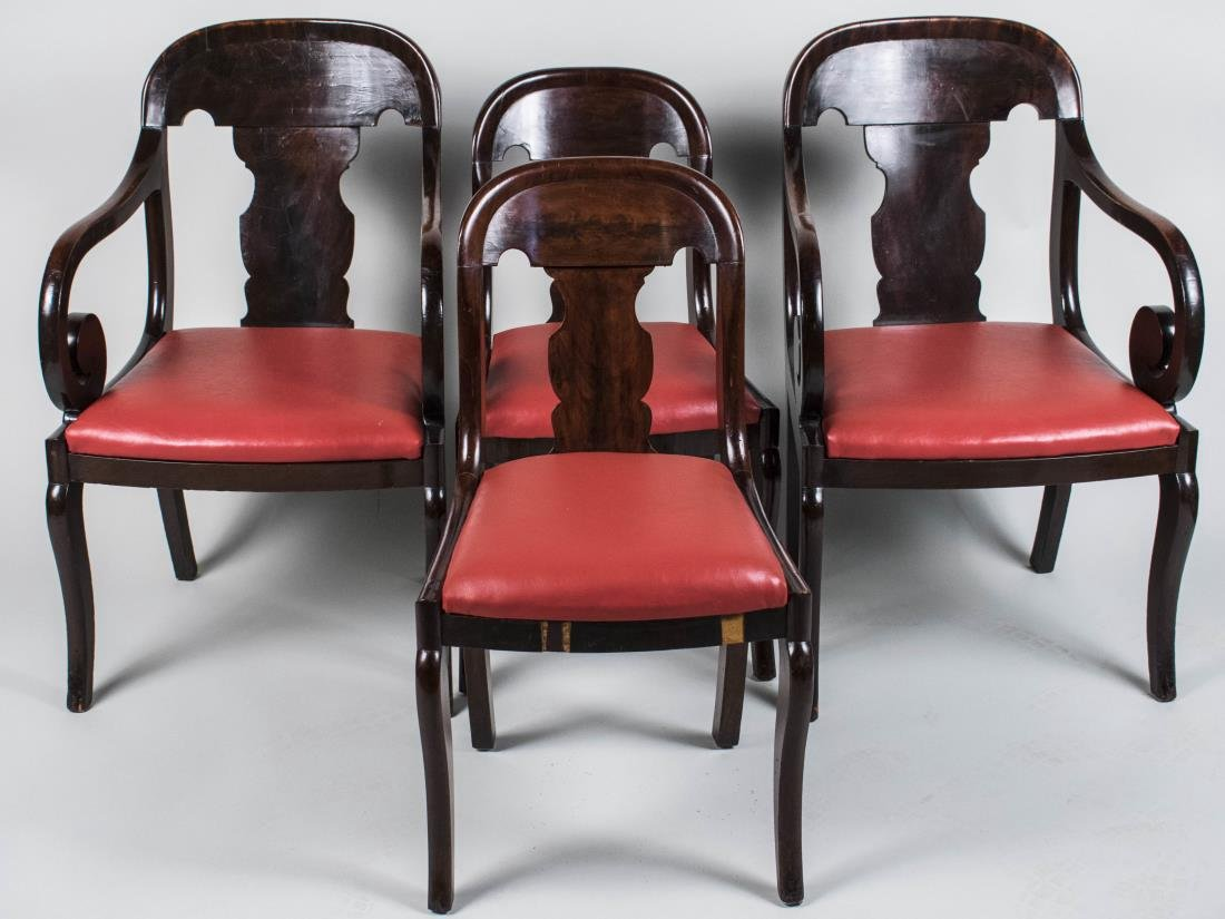 Set of Four Mahogany American Empire Chairs
