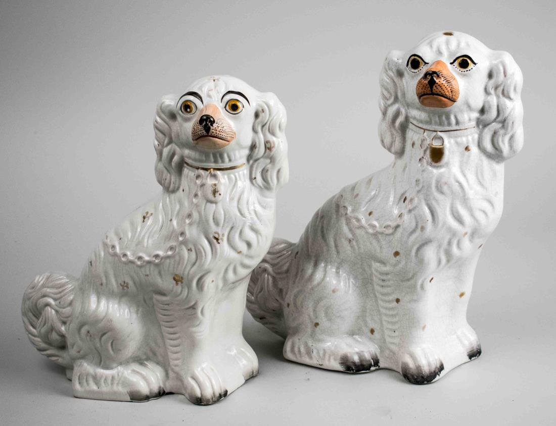 Near Pair of Staffordshire Pottery Spaniels