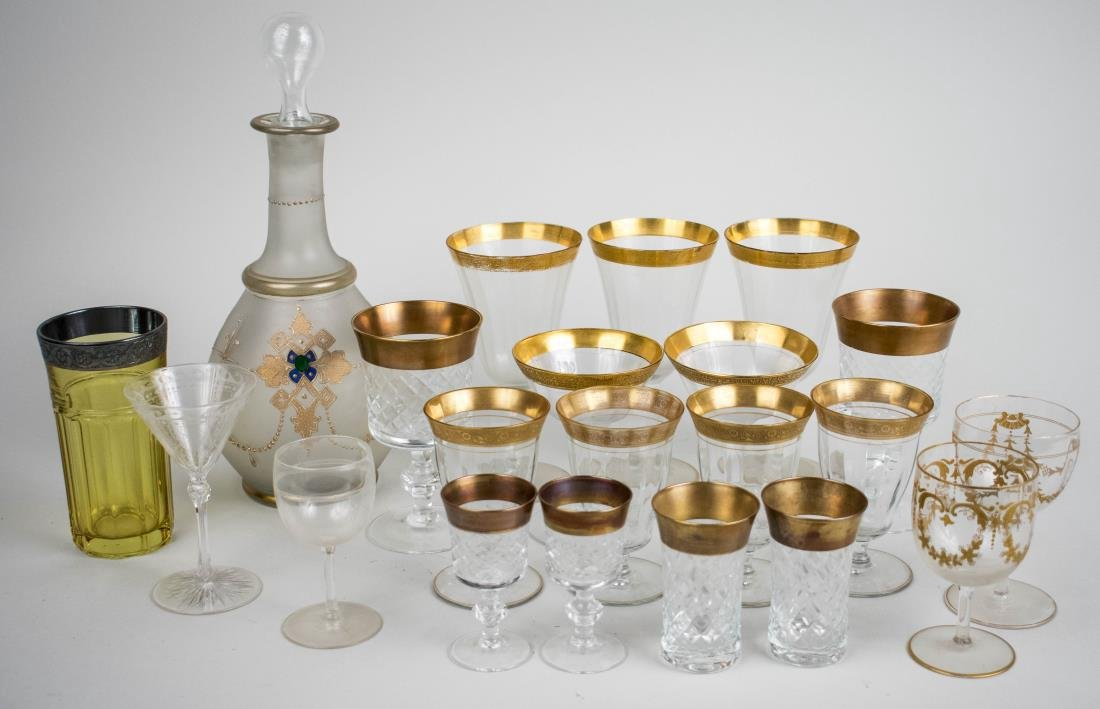 Group of Gilt Decorated Stemware & Barware
