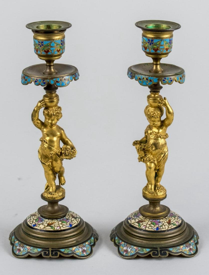 Pair of Champleve Figural Candlesticks