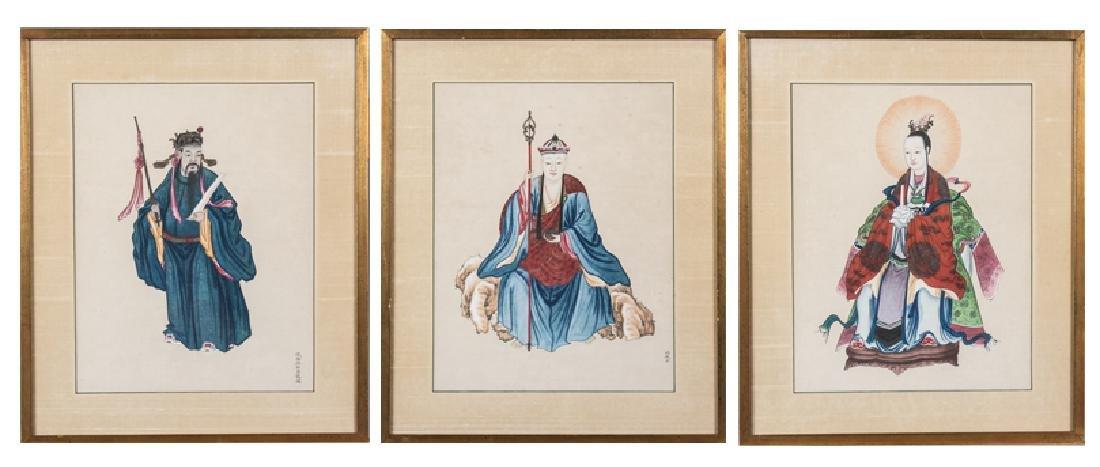 Set of Three Chinese Paintings of Ancestors