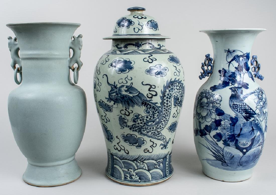 Two Chinese Vases and a Covered Jar