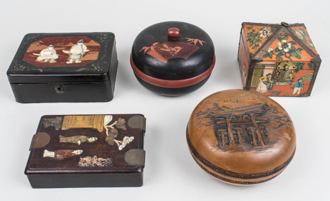 Four Asian Wood or Lacquer Boxes