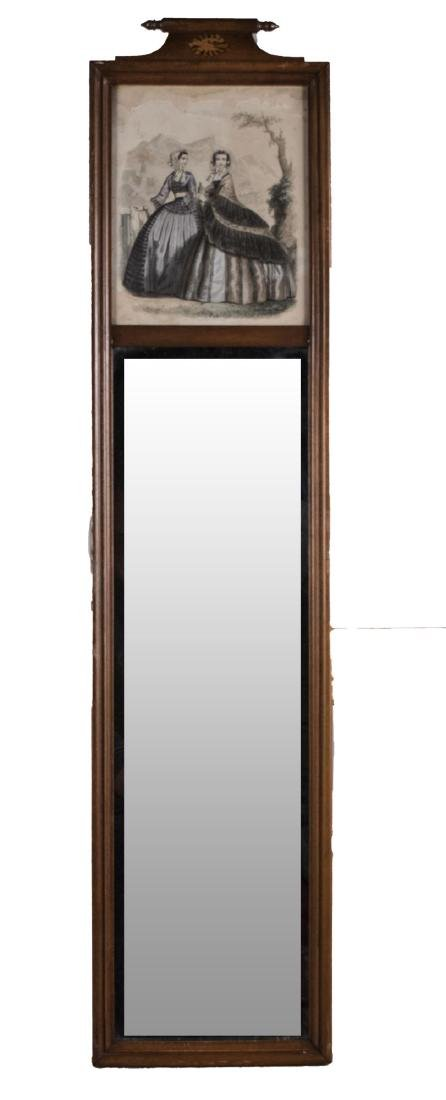 Framed Mirror with Lithograph (19th Century)