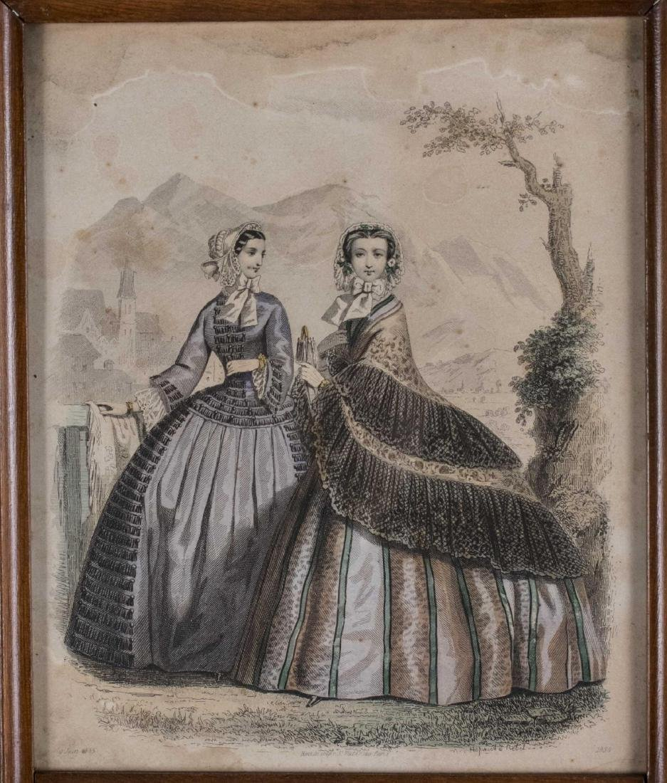 Framed Mirror with Lithograph (19th Century) - 2