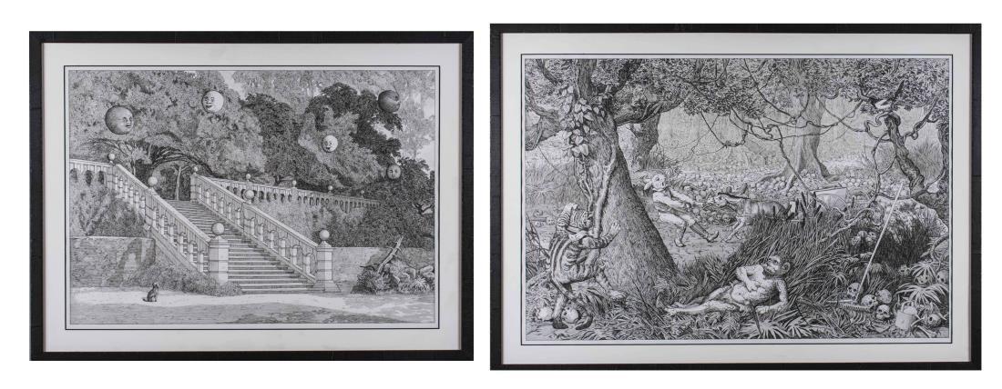 Pair of Pen & Ink Scene Drawings (20th Century)