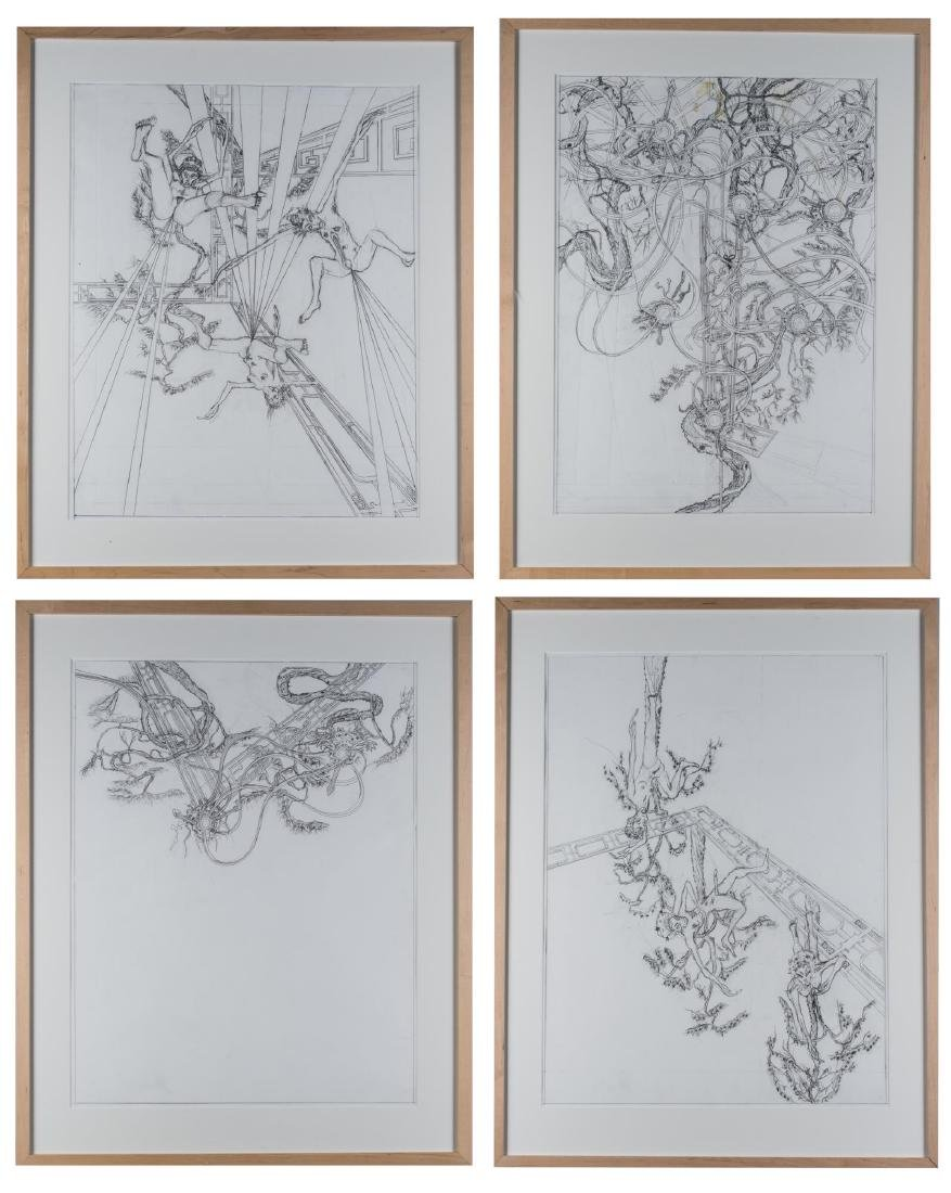 Group of Four Pencil Drawings (20th C)