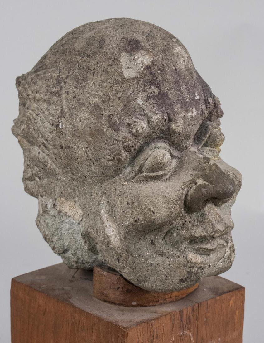Stone Head of a Man Sculpture