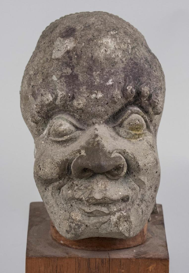 Stone Head of a Man Sculpture - 3
