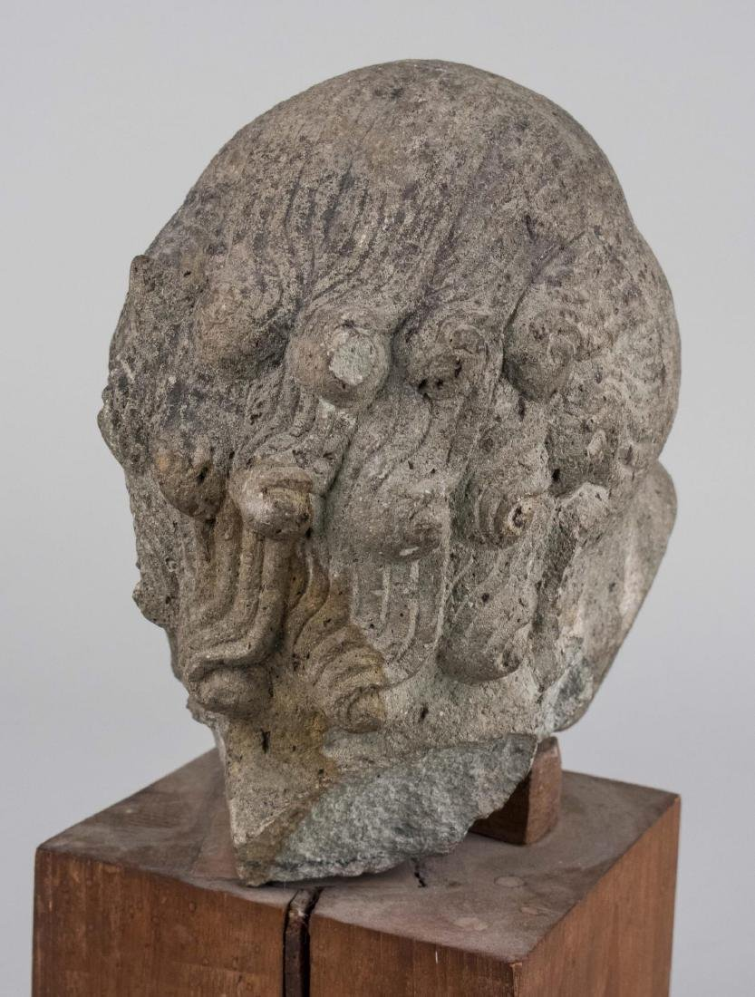Stone Head of a Man Sculpture - 4