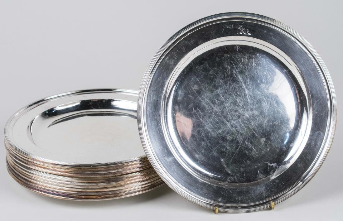 Set of Twelve Silver Plated Service Plates