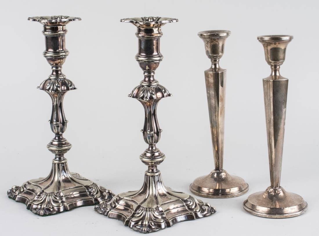 Two Pairs of Silver Candlesticks