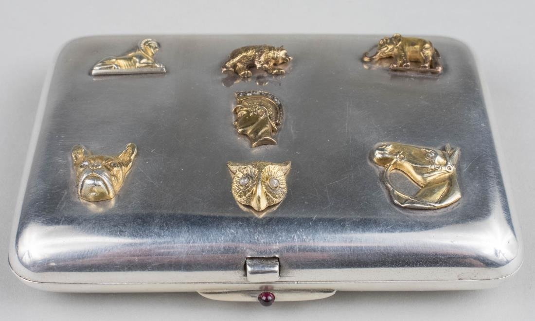 Russian Diamond Set Silver Cigarette Case   *