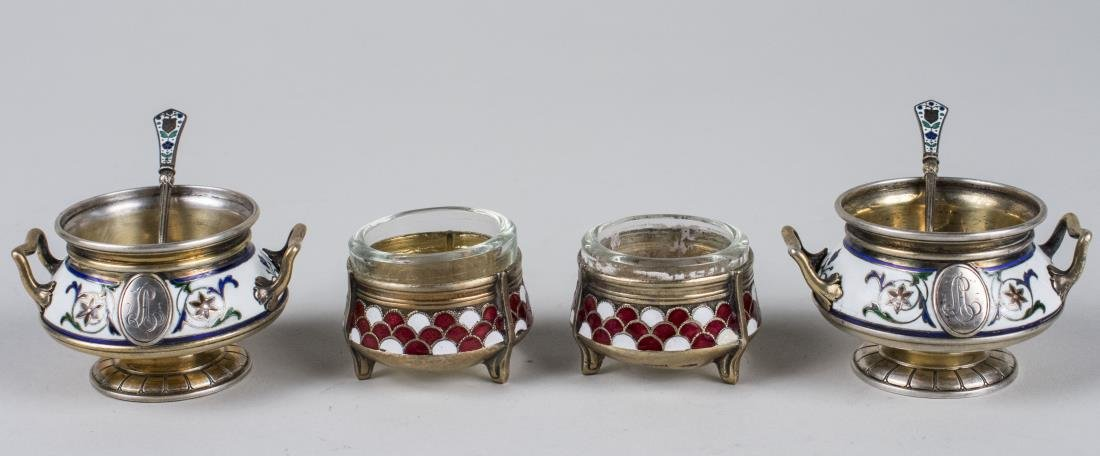Two Pairs of Russian Silver & Enamel Salt Cellars