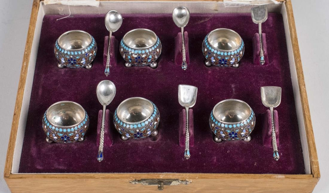 Russian Silver and Enamel Salt Set