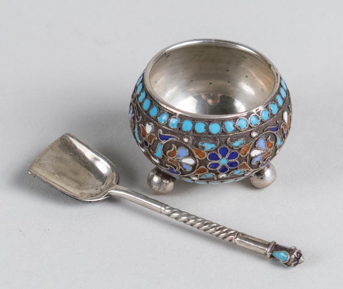 Russian Silver and Enamel Salt Set - 3