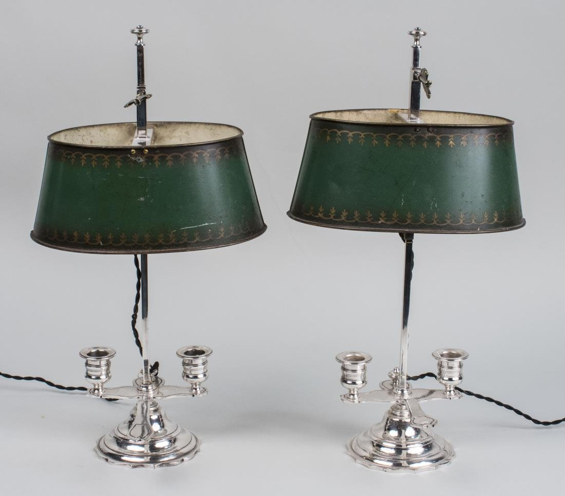 Pair of Silver Plated Bouillotte Lamps