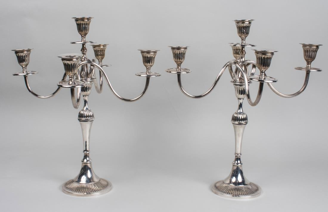 Portuguese Silver Plated Convertible Candelabra