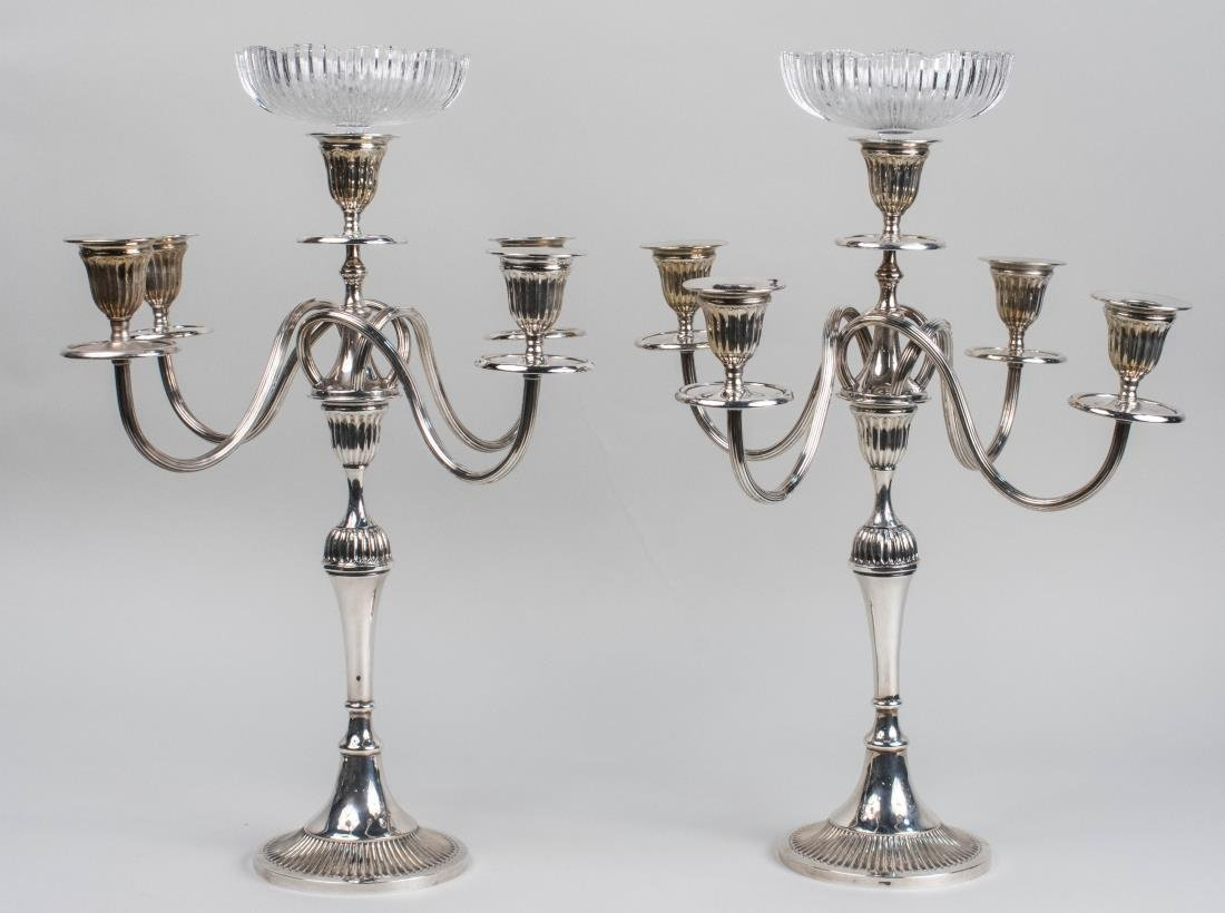 Portuguese Silver Plated Convertible Candelabra - 2