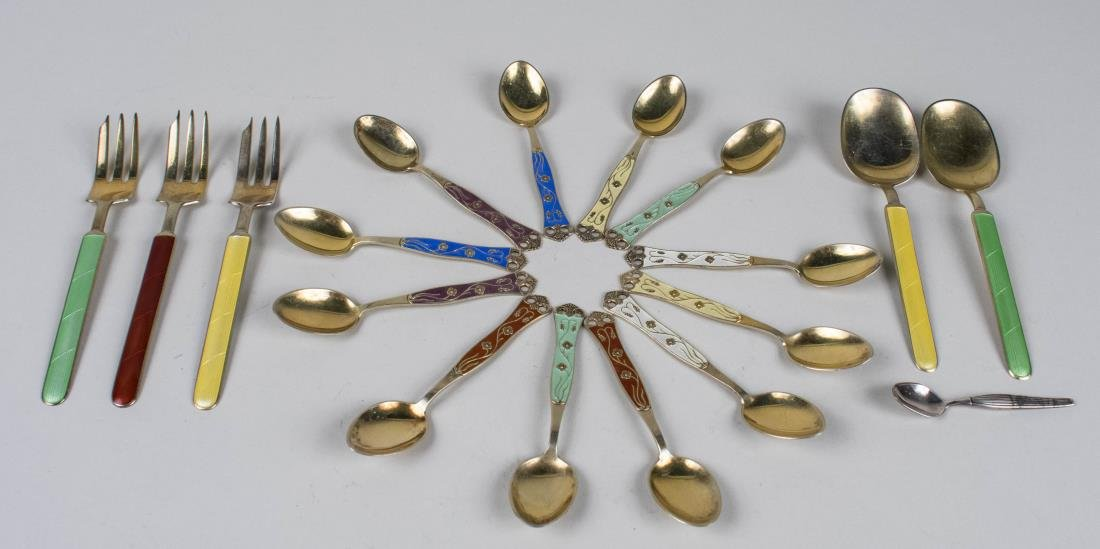 Group of Silver and Enamel Flatware