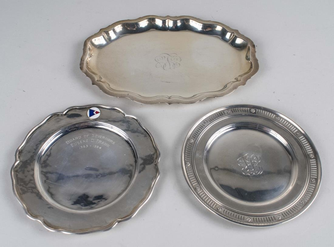 Three Small Sterling Silver Trays